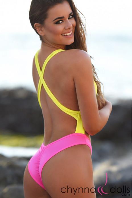 Verona 80's Inspired Swimsuit Yellow Pink