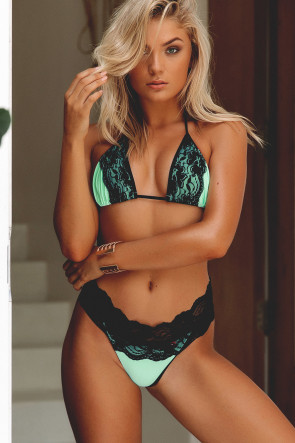 Laguna Mint & Black Single Edge Lace