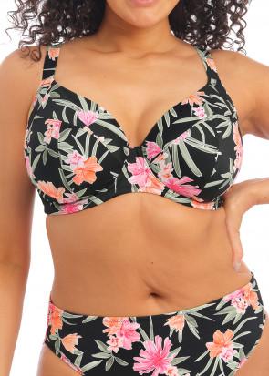 Elomi Swim Dark Tropics bikiniöverdel plunge F-N kupa mönstrad